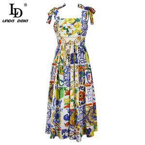 Ld linda della nuova 2018 estate moda pista abito da donna arco da donna spaghetti spaghetti splendida stampa floreale midi abito in cotone abito