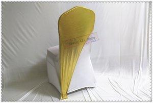 Chaperon de chaise élastique en or 50pcs Bouchon de chaise plaqué or / Lycra bronzing chair cap pour mariage et banquet / Livraison gratuite
