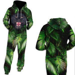 Qybian Green Tropical Leaves Combinaison d'impression panthère Streetwear Pantalon d'entraînement Femmes Combi-pantalons Combinaison
