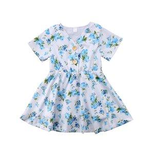 Floral Do Bebê Meninas Princesa Tutu Vestidos Flor Azul Botões Menina Boutique Vestido Roupas Roupas de Criança Vestidos de Festa de Casamento Roupas Infantis