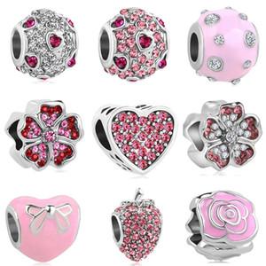2018 nuovo trasporto libero europeo 1pc argento cuore rosa rotondo fiore arco fragola fai da te perlina fit braccialetto di fascino pandora D045