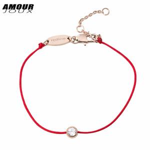 AMOURJOUX A Bracciale filo rosso oro-colore acciaio inossidabile 316L trasparente cubico zircone Bracciali fascino per donna Bracciale rosso corde