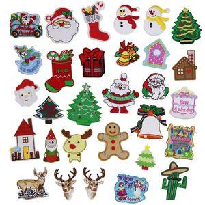 Patch di Natale serie Cartoon Patch ricamate in ferro su cartone animato Motif Applique ricamo accessorio fai da te per i vestiti