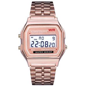 4 cores Digital LED relógio esportes retro cinto de aço inoxidável ultra fino rosa ouro homens eletrônicos relógios comerciais