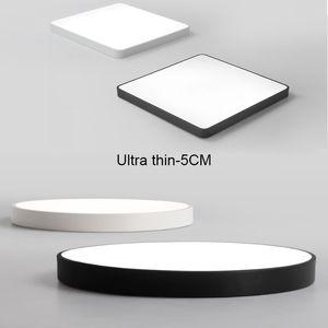 Salon Yatak odası İç Aydınlatma için ultra ince Pratik 5 cm LED Tavan Lambaları Demir Kare Yuvarlak Siyah / beyaz Tavan Lambaları