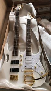 Rare IBZ Sharnel 77V Guitare Électrique À Double Cou Blanc 6 Cordes Guitare 4 Cordes Basse, Cordier Tremolo Bigs, Micros HSH, Matériel Or
