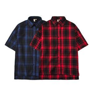 Yaz Erkek tişört Hip Hop yarım kollu gömlek uzatmak gömlek uzatmak Düzensiz Temel Tee Kırmızı Mavi Kareli Yaka Erkekler Casual Gömlek Turn-down