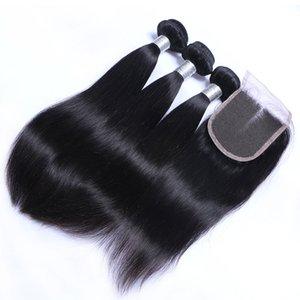 Cabelo 8A humano laço Pacotes 3 indiano E Com Humano Brasileiro Malásia Virgin cambojano Encerramento Hetero Remy peruana Tece cabelo Clos NCAL