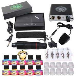 Complete Tattoo Kit Motor Pen Machine Gun 10 Color Inks Power Supply Needles D3017 US shipping
