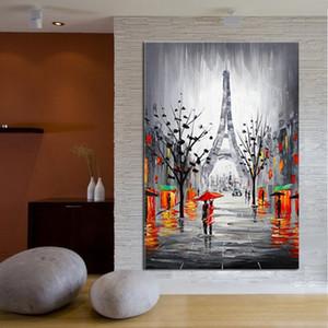 Artesanal Abstrato Moderno Streetscape Pinturas Grande Pintado À Mão Rua Paisagem Pintura A Óleo Sobre Tela Home Wall Art Pictures