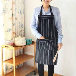 1pcs Popular black and white striped cotton linen cloth art adjustable shoulder belt home kitchen adult apron 65*75cm 100% cotton.