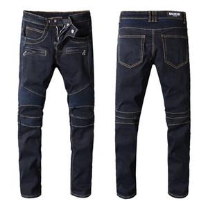 Balmain джинсы Top Мужская мода качества Простые летние повседневные Легкие джинсы мужские Casual Solid Классический прямой джинсовой Стилист для продажи