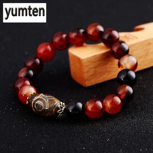 Naturstein 8/10/12/14 Millimeter-Schwarz Achat Perlen Armband Achat-Stein-rundes Korn Strechy Karneol Onyx Armbänder