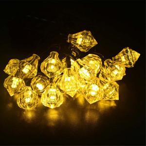 Güneş Enerjili renkli Elmas LED Dize Işıklar Noel Bahçe Dekorasyon için 20 Sıcak Beyaz Ledler ile