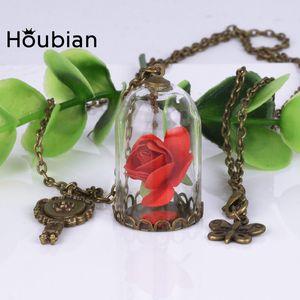 venta al por mayor Lady Retro Vial Glass Necklace Necklace, Natural Rose Red Flower Little Prince Necklace Jewelry (paquete de 12) Hecho a mano Nuevo