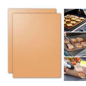 33 * 40 CM Hitzebeständige BBQ Grillmatte Kupfer Backformen Matte Grill Roast Sheet Portable Einfach Sauber Grill Pad BBQ Werkzeug