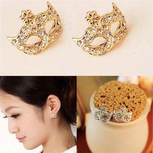Máscara de moda Ear Stud Aleación de zinc Máscara de cristal Pendientes Brinco Pendientes Korean Lady Lindo Crystal Fox Masquerade flor Pendiente