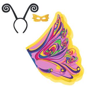 Belle ragazze Costumi Cosplay Giallo Colorful Butterfly Ali + Maschera + Fascia farfalla Elfo Cosplay Capo Chiffon luce regali sottili