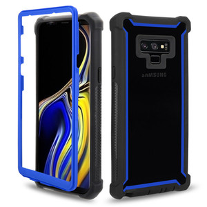 إلى Samsung Note 9 S9 Plus 2in1 Defender Phone Case Soft TPU Clear PC Hybrid Back Cover for iPhone XS