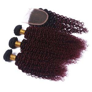 Волосы ткут Расширение перуанского Ombre бордового Человека с Closure Kinky завитых 1B / 99J Burgundy Ombre 4x4 Lace Closure с 3 Bundle предложений