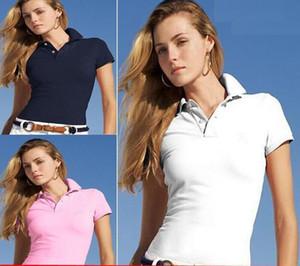 여성 폴로 셔츠 2018 여름 악어 자수 스타일 짧은 소매 soild 색상 코튼 POLO 셔츠 여성 좋은 품질 폴로 셔츠 크기 N - 2XL