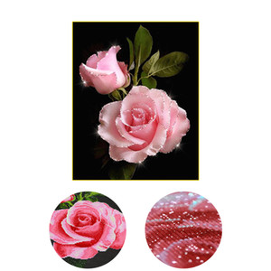 nuovo, Special Shaped, Diamond Embroidery, Cina, fiori, rosa, 5D, Diamond Painting, Cross Stitch, 3D, Mosaico di diamanti, Decorazione murale