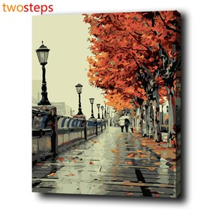 TwoSteps Autumn Street Diy Digital Canvas Painting by Numbers Coloring By Numbers Modern Large Acrylic Paint By Number Kits Y18102209