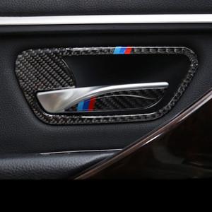 Karbon Fiber Araba İç Kapı Kolu Kapak Trim Kapı Kase Çıkartmalar Çıkartmaları BMW 3 4 Serisi 3GT Için Şeritler F30 F31 F32 F34 Styling aksesuarları