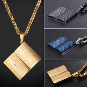 قلادة الصليب المقدس قلادة دائم 316L الفولاذ المقاوم للصدأ 18K مطلية بالذهب الحقيقي الآية مجوهرات الكتاب المقدس 3 ألوان اختياري