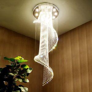 Lustres Européenne K9 Cristal Plafonnier En Spirale Moderne Créative LED Salon Hôtel Villa Lumière Lustre Luminaire Suspension Lampe