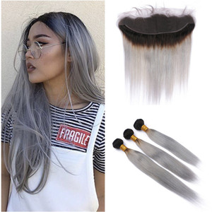 New Arrive 1b Grey Ombre Human Hair 3 Bundles With Lace Frontal Brazilian Virgin Straight Hair Gray Hair Extension With 13x4 Lace Frontal