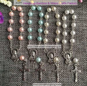 10pcs/pack 6mm glass bead rosary bracelet,religious catholic bracelets with Virgin Mary centerpiece and alloy benedict cross