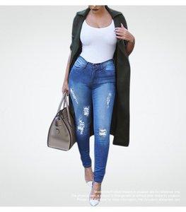 Женские джинсы скинни большого размера с рваными потертостями и потертыми джинсами скинни