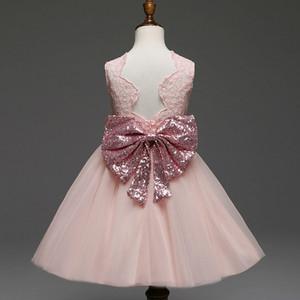 Vieeoease девушка платье лук Детская одежда 2018 Летняя мода рукавов жилет Bling кружева Принцесса платье EE-242