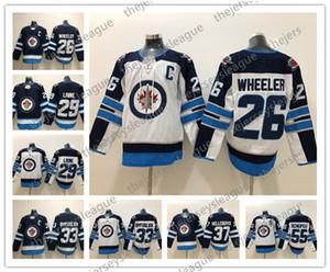 Jets de Winnipeg # 26 Blake Wheeler 29 Patrik Laine 33 Dustin Byfuglien 55 Mark Scheifele 37 Hellebuyck Bleu cousu Blanc 2018 Hockey Jersey