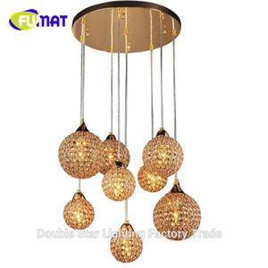 FUMAT Gold 8 Ball Modern K9 Crystal Colgante Lámpara de luz Decoración Luminaria para el hogar E14 110-240V