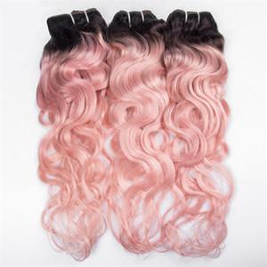 Rosa ondulado peruano humano virginal del pelo paquetes de dos tonos 1b Rosa Ombre armadura del pelo onda profunda rizado trama 3 unids / lote