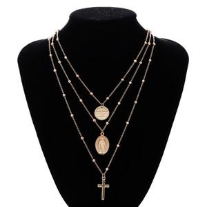 Jesus Cross Layered Collier Pendentifs - Colliers à breloques multicouches de mode cadeau pour femmes bijoux en argent ton
