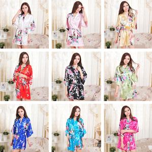 14 Colors S-XXL Sexy Women's Japanese Silk Kimono Robe Pajamas Nightdress Sleepwear Broken Flower Kimono T2I245
