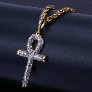 Hip Hop égyptien Ankh clé croix pendentif collier glacé sur or couleur argent plaqué micro pavé pendentif zircon collier