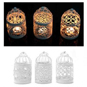 الأبيض 3 أنواع المعادن الجوف شمعة حامل الفوانيس شمعدان معلق فانوس الطيور قفص الفوانيس الديكور المنزل