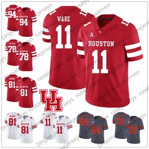 NCAA Houston Cougars # 2 DJ Hayden 4 Kevin Kolb 10 Kyle Allen 11 Andre Ware 78 Wilson Whitley Red White College Football Jersey