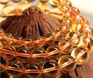 """Perles de pierres précieuses rondes de topaze citrine impériale rare de 10mm 15 """""""