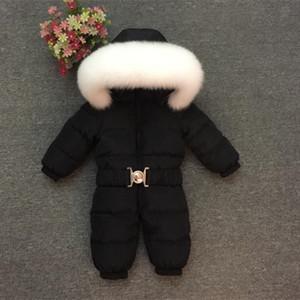 2018 детские зимние комбинезоны Детская одежда теплый Snowsuit мальчик девочка толстый вниз меховой воротник комбинезоны малыш снег носить комбинезон 1-5лет