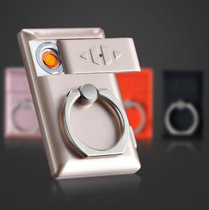 다채로운 지원 반지 USB 라이터 아연 합금 PC 순환 충전 전기 와이어 Ultrathin 고품질 선물 상자 절묘한 색깔 바람 증거