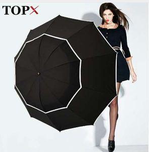 TOPX Big Top Qualité Parapluie Hommes Pluie Femme Coupe-Vent Grand Paraguas Hommes Femmes Sun 3 Pliant Grand Parapluie En Plein Air Parapluie