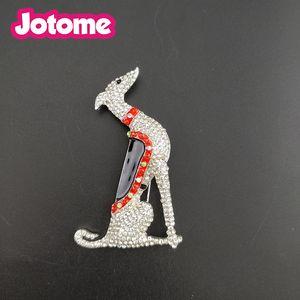 1 adet / Moda Takı Gümüş Ton Greyhound Scotty Borzoi Hound Köpek Yavru Köpek Rhinestone Emaye Hayvan Pin Broş