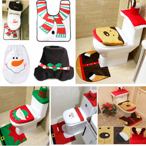 3 Piece Set Christmas Santa Claus Cloth Toilet Foot Pad Cover Toilet Seat Cover Radiator Cap Cover Decorations Bathroom Set Xmas HH7-1295