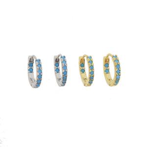 Стерлингового серебра 925 родия позолоченные мини обручи проложили синий nano turquoiose драгоценный камень элегантность минимальный обруч huggie тонкой серебряной learring