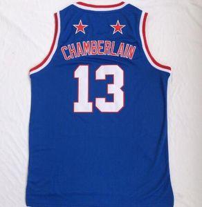 2020 Novos Homens Harlem Basketball Equipe Wilt Chamberlain 13 camisas de basquete azul camisas Tops, 45 Mitchell 77 Doncic 13 Antetokounmpo 13 endurecer